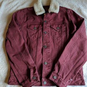 ASOS Slim Denim Jacket Burgundy w/ Fleece Collar